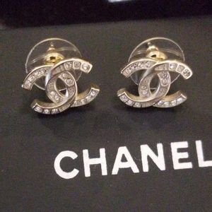 Authentic Chanel crystal stud earrings